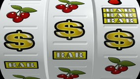 Τζακ ποτ μηχανημάτων τυχερών παιχνιδιών με κέρματα απεικόνιση αποθεμάτων