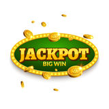 Τζακ ποτ που παίζει την αναδρομική διακόσμηση εμβλημάτων Διακόσμηση επιχειρησιακών τζακ ποτ Τυχερό πρότυπο συμβόλων σημαδιών νικη Στοκ εικόνα με δικαίωμα ελεύθερης χρήσης