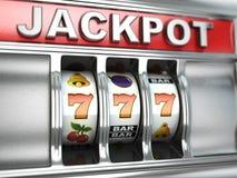 Τζακ ποτ στο μηχάνημα τυχερών παιχνιδιών με κέρματα Στοκ φωτογραφία με δικαίωμα ελεύθερης χρήσης
