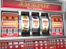 Τζακ ποτ στο μηχάνημα τυχερών παιχνιδιών με κέρματα. Στοκ Φωτογραφίες