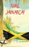 Τζαμάικα γραφική με τη εθνική σημαία στοκ εικόνα με δικαίωμα ελεύθερης χρήσης