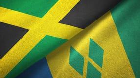 Τζαμάικα και Άγιος Βικέντιος και Γρεναδίνες δύο υφαντικό ύφασμα σημαιών απεικόνιση αποθεμάτων