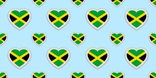 Τζαμαϊκανό υπόβαθρο Άνευ ραφής σχέδιο σημαιών της Τζαμάικας Διανυσματικά stikers Σύμβολα καρδιών αγάπης Καλή επιλογή για τις αθλη απεικόνιση αποθεμάτων