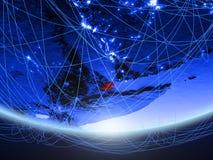 Τζιμπουτί από το διάστημα με το δίκτυο στοκ εικόνα