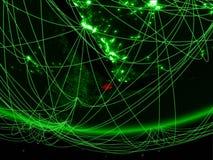 Τζιμπουτί από το διάστημα με το δίκτυο στοκ φωτογραφίες