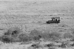 Τζιπ σαφάρι για την κίνηση παιχνιδιών σε Masai Mara Στοκ Φωτογραφία