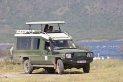 Τζιπ σαφάρι με τους τουρίστες, εκδοτικούς Στοκ Εικόνες