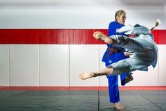 Τζούντο στο tatami Στοκ Εικόνες