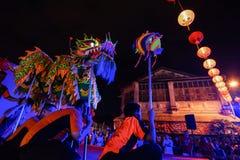 ΤΖΩΡΤΖΤΑΟΥΝ, PENANG/MALAYSIA †«στις 13 Φεβρουαρίου 2016: Χορός δράκων perf Στοκ Εικόνες