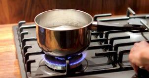 Τηγάνι χάλυβα με τα τρόφιμα πέρα από τη σόμπα αερίου απόθεμα βίντεο