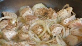 Τηγανίζοντας βόειο κρέας με το κρεμμύδι στο καυτό τηγάνι φιλμ μικρού μήκους