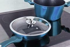 Τηγανίζοντας δοχείο τηγανιών και χάλυβα στη σύγχρονη επαγωγή cooktop στοκ εικόνες με δικαίωμα ελεύθερης χρήσης