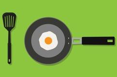 Τηγανίζοντας τηγάνι με το διάνυσμα αυγών και τορναδόρων Στοκ φωτογραφία με δικαίωμα ελεύθερης χρήσης