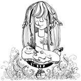 Τηγανίζοντας τηγανίτα κοριτσιών στο τηγάνι στοκ φωτογραφία με δικαίωμα ελεύθερης χρήσης