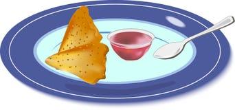 Τηγανίτες και μαρμελάδα σε ένα πιάτο ελεύθερη απεικόνιση δικαιώματος