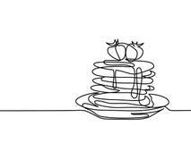 Τηγανίτες με τη μαρμελάδα φραουλών στο πιάτο Στοκ Φωτογραφία