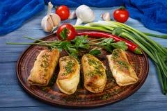 Τηγανίτες με το κρέας και τα φρέσκα λαχανικά στοκ φωτογραφία με δικαίωμα ελεύθερης χρήσης
