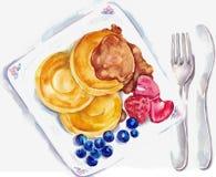 Τηγανίτες προγευμάτων Watercolor με το σιρόπι σφενδάμνου διανυσματική απεικόνιση