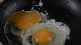 Τηγανητά δύο αυγά στο τηγάνι απόθεμα βίντεο