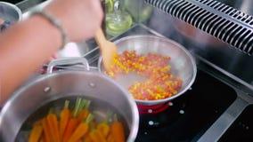 Τηγανητά μαγείρων το πιπέρι και οι ντομάτες σε ένα τηγάνι απόθεμα βίντεο