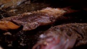 Τηγανητά μερών διχτυού ψαριών θάλασσας στο τηγάνι με το έλαιο και τη σάλτσα ελιών απόθεμα βίντεο