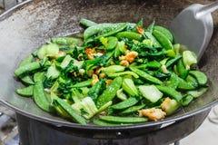 Τηγανισμένα λαχανικά με τις γαρίδες Στοκ Εικόνες