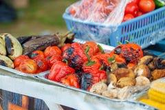 Τηγανισμένα λαχανικά στη σχάρα χορτοφάγος καταλόγων επιλογής στοκ εικόνες