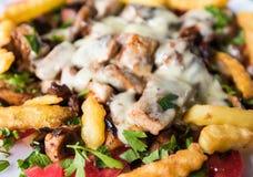 Τηγανισμένα μανιτάρια και κρέας κοτόπουλου στοκ εικόνα