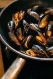 Τηγανισμένα μύδια σε ένα τηγάνι στοκ φωτογραφίες με δικαίωμα ελεύθερης χρήσης