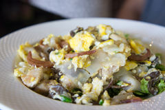 Τηγανισμένα νουντλς με το ψημένα κοτόπουλο, το καλαμάρι και το αυγό Στοκ φωτογραφίες με δικαίωμα ελεύθερης χρήσης