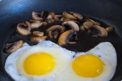 Τηγανισμένα οργανικά αυγά με τα μανιτάρια Στοκ φωτογραφία με δικαίωμα ελεύθερης χρήσης