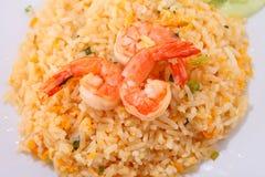 Τηγανισμένα ταϊλανδικά τρόφιμα ρυζιού, τηγανισμένο γαρίδες ρύζι Στοκ φωτογραφία με δικαίωμα ελεύθερης χρήσης
