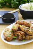 Τηγανισμένα φτερά κοτόπουλου με την πικάντικη σάλτσα Στοκ εικόνες με δικαίωμα ελεύθερης χρήσης