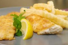 Τηγανισμένα ψάρια και τσιπ στο πιάτο για το γεύμα Στοκ εικόνα με δικαίωμα ελεύθερης χρήσης