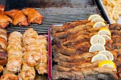 Τηγανισμένα ψάρια με τη φέτα λεμονιών και το ψημένο στη σχάρα κρέας Στοκ Εικόνες