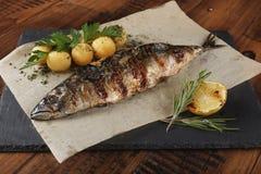 Τηγανισμένα ψάρια σκουμπριών που γεμίζονται με το λεμόνι Στοκ Εικόνες