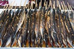Τηγανισμένα saury ψάρια Στοκ Φωτογραφία