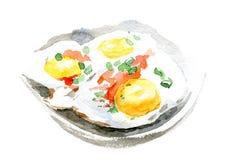 Τηγανισμένες αυγά και ντομάτα στο πιάτο Απεικόνιση Watercolor στο άσπρο υπόβαθρο Στοκ Φωτογραφία