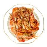 Τηγανισμένες γαρίδες έξι κομμάτια στο πιάτο Στοκ Εικόνα