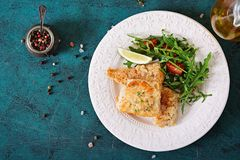 Τηγανισμένες λωρίδες άσπρων ψαριών και σαλάτα ντοματών με το arugula Στοκ Εικόνα