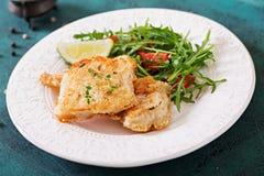 Τηγανισμένες λωρίδες άσπρων ψαριών και σαλάτα ντοματών με το arugula Στοκ Εικόνες