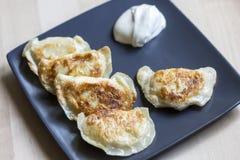 Τηγανισμένες μπουλέττες αποκαλούμενες pierogi με την ξινή κρέμα στιλβωτική ουσία τροφίμω& Στοκ Εικόνα