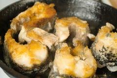 Τηγανισμένες μπριζόλες ψαριών στο τηγάνι Μεγάλα ψάρια λούτσων τηγανητών σε ένα τηγανίζοντας τηγάνι Στοκ φωτογραφία με δικαίωμα ελεύθερης χρήσης
