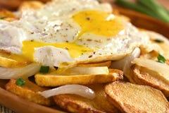 Τηγανισμένες πατάτες με το τηγανισμένο αυγό Στοκ Εικόνες