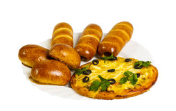 Τηγανισμένες burgers, κουλούρια και πίτσα που απομονώνονται Στοκ Εικόνα
