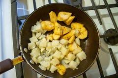 Τηγανισμένες plantain και πατάτες στοκ εικόνα