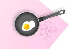 τηγανισμένη αυγό τηγανίζον& Στοκ Εικόνες