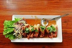 Τηγανισμένη γαρίδα με Tamarind τη σάλτσα Στοκ Εικόνα