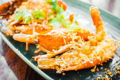 Τηγανισμένη γαρίδα με το σκόρδο στο πιάτο Στοκ εικόνες με δικαίωμα ελεύθερης χρήσης