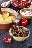 Τηγανισμένη μελιτζάνα με τη σάλτσα ξύλων καρυδιάς Badridzhani στοκ εικόνες